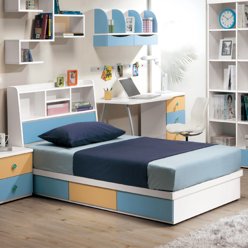 【優利亞-藍色天地】3.5尺單人床頭箱+抽屜床座(不含床墊)