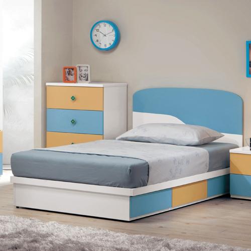 【優利亞-藍色天地】3.5尺單人床頭片+抽屜床座(不含床墊)