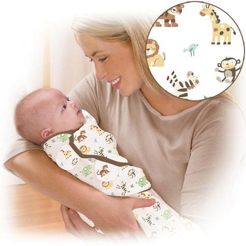 美國 Summer Infant SwaddleMe【純棉薄款 - 動物園】, 小號 - 可調式懶人包巾
