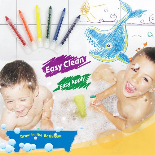 【樂兒學】可擦拭水性環保6色浴室蠟筆-台灣製造