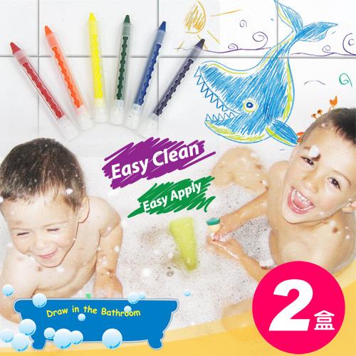 【樂兒學】超值2盒可擦拭水性環保6色浴室蠟筆-台灣製造