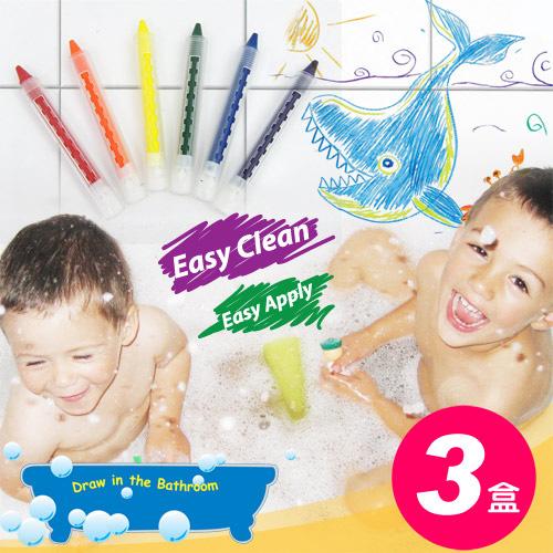 【樂兒學】超值3盒可擦拭水性環保6色浴室蠟筆-台灣製造