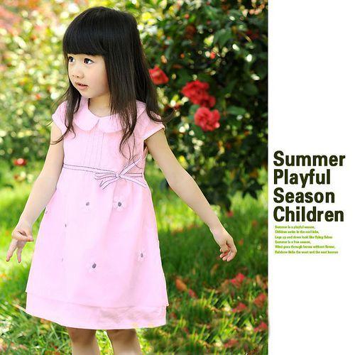 夏日《翻領網紗款-粉色》甜美氣質小洋裝【現貨+預購】