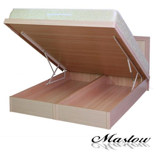 【Maslow-獨特邊框】加大白橡掀床架-6尺(不含床墊)