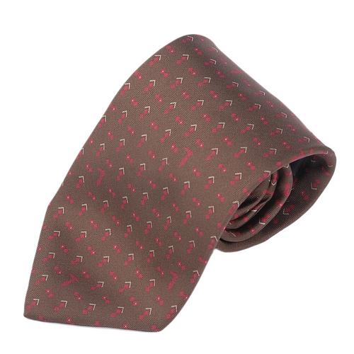 TRUSSARDI 細緻LOGO雙菱圖時尚領帶-咖啡色