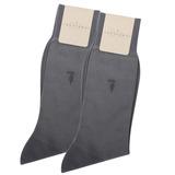TRUSSARDI 薄型純棉紳士襪【灰藍色2入】