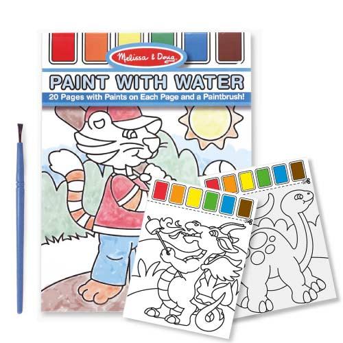 美國 Melissa & Doug 水彩繪圖本, 附水彩及畫筆【藍色】(任選)