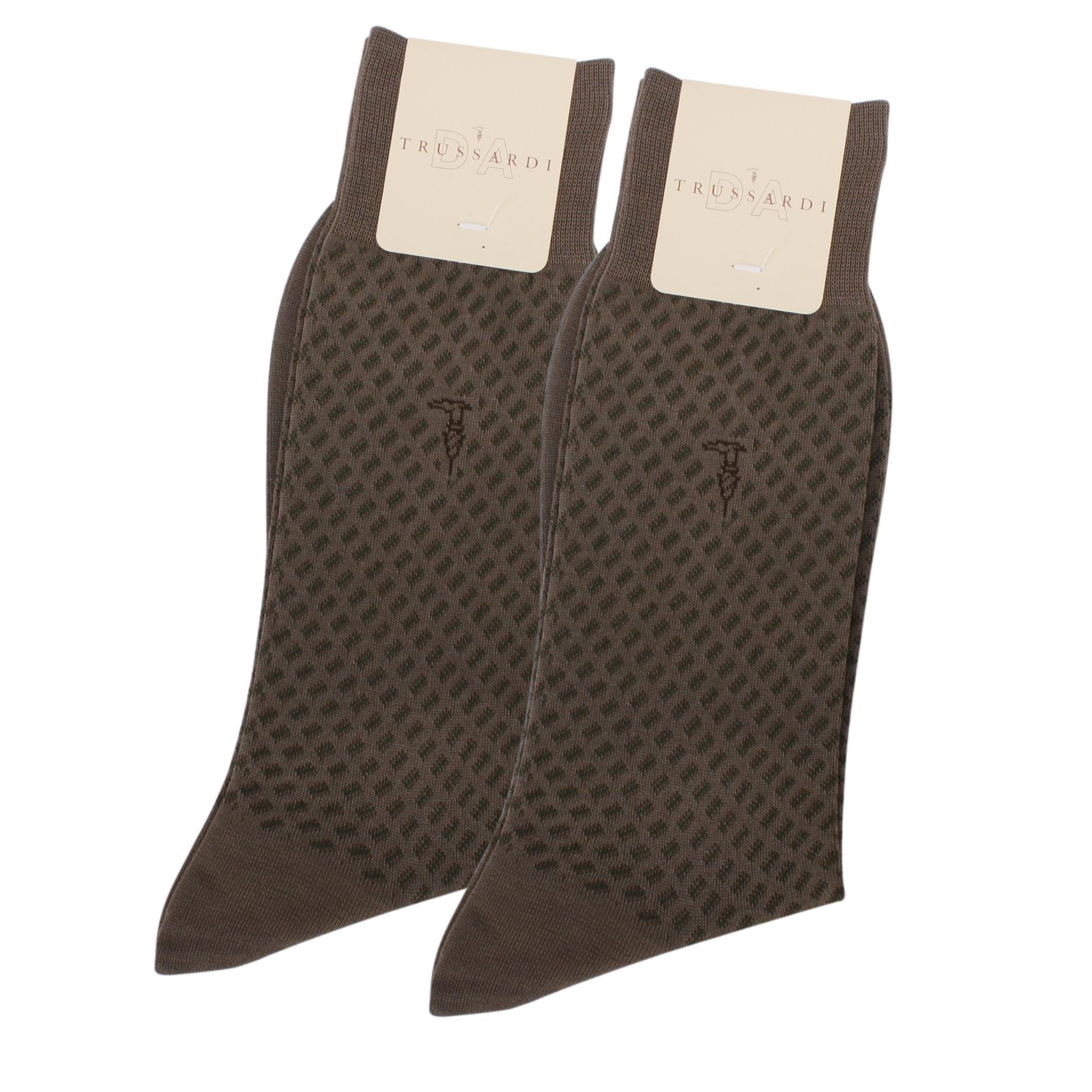 TRUSSARDI 滿版斜格紳士襪【橄欖色2入】