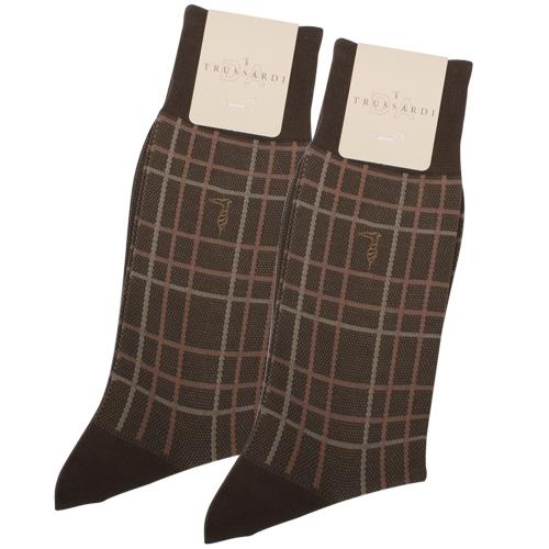 TRUSSARDI 棉質交錯格紋紳士襪【咖啡色2入】