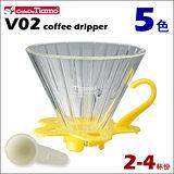 CafeDeTiamo V02玻璃咖啡濾杯組【黃色】附量匙 2-4杯份 (HG5359 Y)