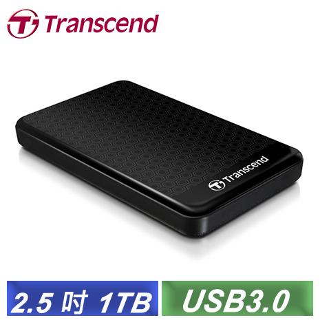 創見 StoreJet 25A3 1TB USB3.0 2.5吋纖薄抗震行動硬碟(TS1TSJ25A3K)-【送HDD硬殼保護套】