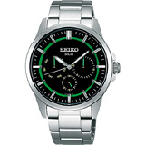 【SEIKO】風行者太陽能日曆腕錶(V14J-0AX0M)-綠/銀