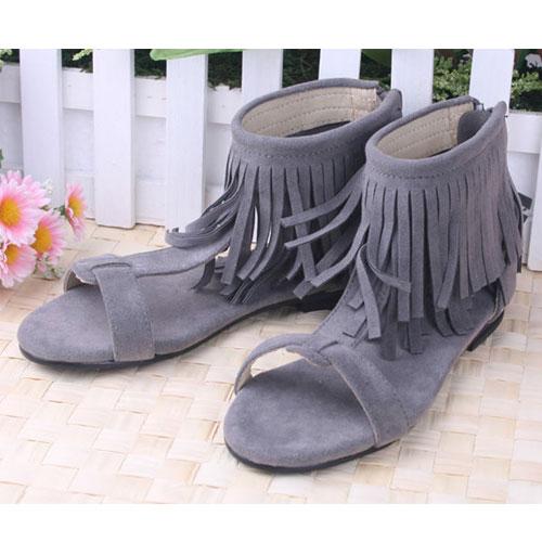 KUKI 酷奇時尚流蘇露趾羅馬鞋/小童涼鞋☆女童鞋☆s0497  時尚設計童鞋