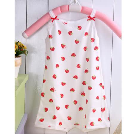 (購物車)  KUKI  草莓印花細肩帶俏皮連身裝~嬰幼兒童裝 ~女童內著~女童裝~台灣製造~k01016 -friDay購物