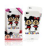 【日本進口迪士尼】豆豆眼米奇與米妮iPhone4軟式手機背蓋/殼