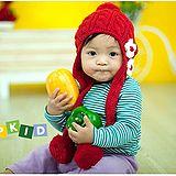 花朵球球款~保暖圍巾帽