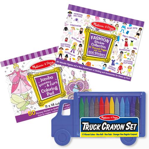美國 Melissa & Doug 塗鴉創意組【紫紫】& 12 色蠟筆組