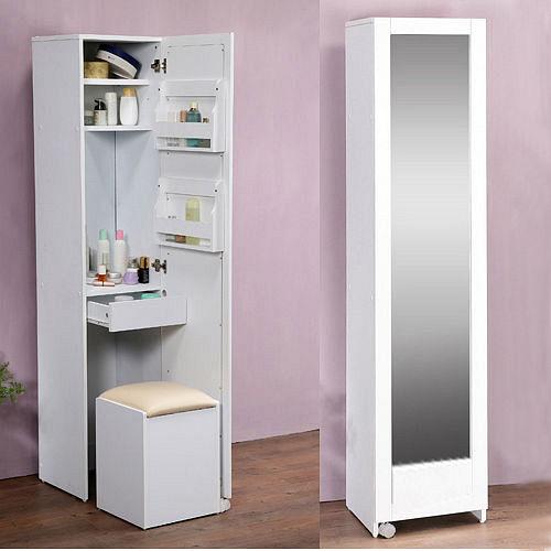 ~C B~4合1收納化妝桌椅穿衣鏡櫃
