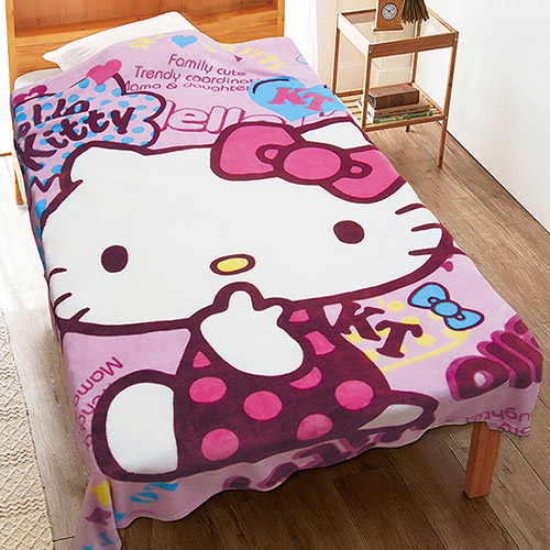【享夢城堡】HELLO KITTY 街頭俏妞 法蘭絨毯
