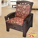 【凱蕾絲帝】木椅通~高支撐加厚連體L型坐墊(1入)-里昂玫瑰紅