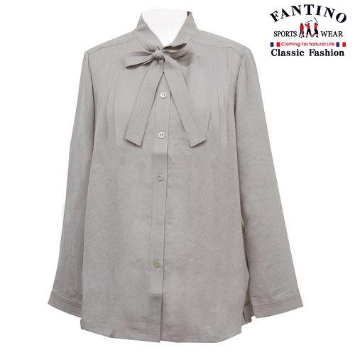 【FANTINO】台灣製,輕薄極柔軟原色秀雅襯衫(灰)184101