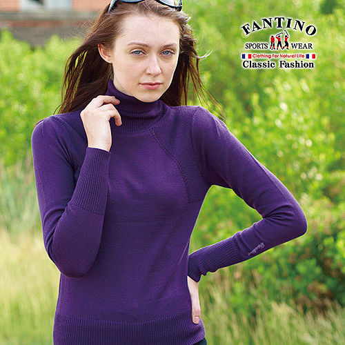 【FANTINO】女裝 高領貼身保暖可水洗羊毛衣(紫)187203