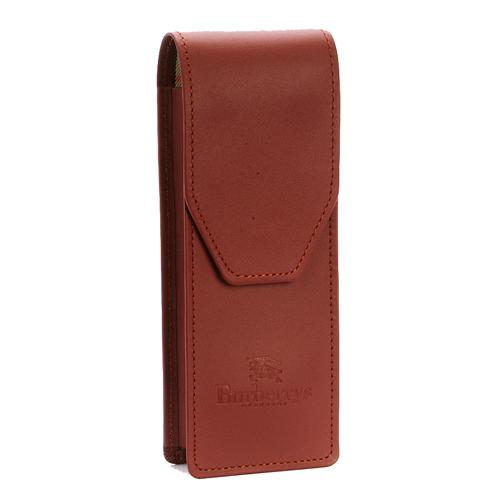 BURBERRY 素色皮革戰馬LOGO萬用筆盒-磚紅色