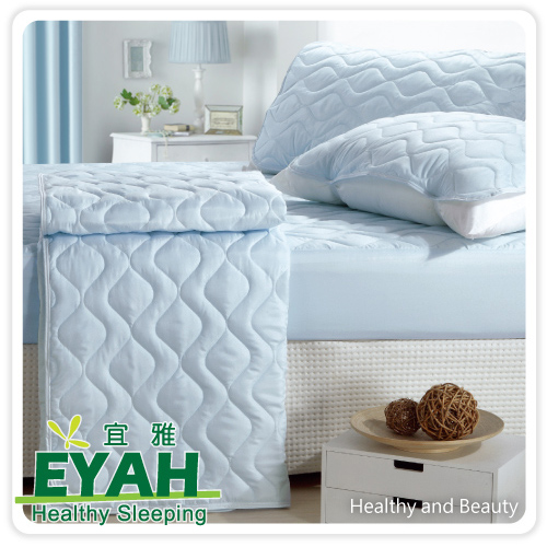 【EYAH宜雅】純色保潔墊△床包式雙人加大3入組(含枕墊*2)-迷情藍