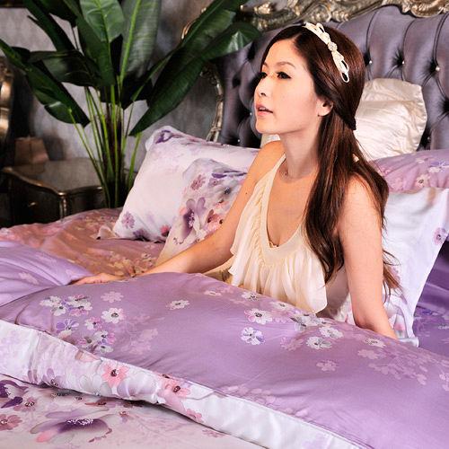 義大利La Belle《紫戀薔薇》天絲表布100%長纖蠶絲冬被--特大