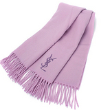 YSL 刺繡LOGO保暖羊毛披肩-粉紫色
