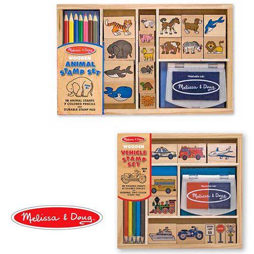 美國【Melissa & Doug】木製印章組-動物停看聽之工具篇