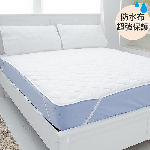 台灣嚴選【eyah宜雅】超防水舖綿QQ保潔墊-(平單式)雙人加大3件組(含枕墊*2)
