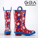 GOA可愛閃爍小星星純橡膠兒童雨靴(紅,共2色款)