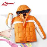 意都美 Litume ↘零碼出清 兒童輕量防潑水透氣保暖羽絨外套(帽可拆) 桔-米白 F8015