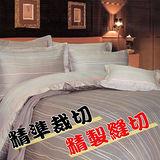 悠遊線條.100%精梳棉.標準雙人床罩組全套.全程臺灣製造