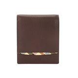 DAKS 素面格紋飾條皮革零錢袋短夾-咖啡色