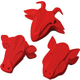 《KIKKERLAND》Clips 磁性動物封口夾組(紅3入)