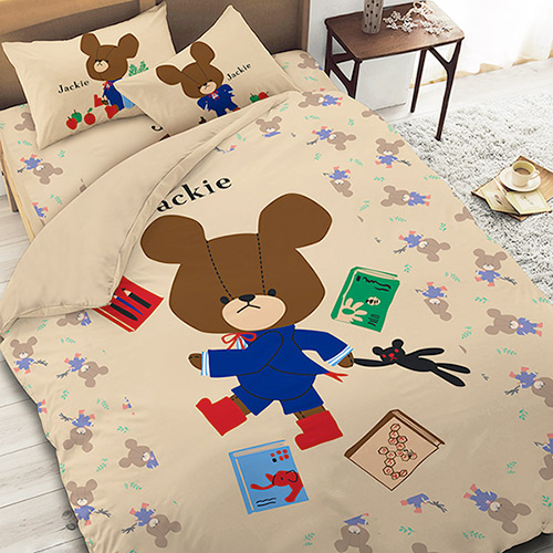 【享夢城堡】小熊學校 讀書樂系列-雙人床包涼被組(綠)(卡其)
