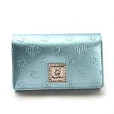 Crystal Ball 浮雕花飾鑽LOGO零錢包中夾-粉藍