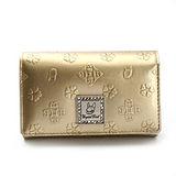 Crystal Ball 浮雕花飾鑽LOGO零錢包中夾-金色