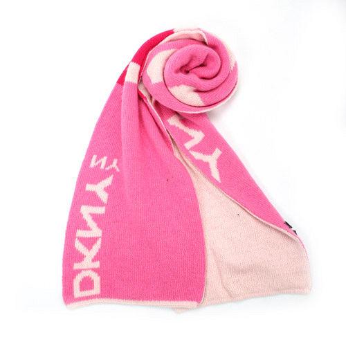 DKNY 大字母LOGO細版混羊毛圍巾-粉紅