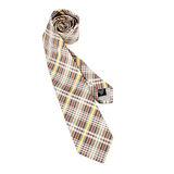 Vivienne Westwood 斜格紋多線條絲質領帶(灰/黃)