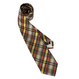 Vivienne Westwood 斜格紋多線條絲質領帶(灰/咖啡)