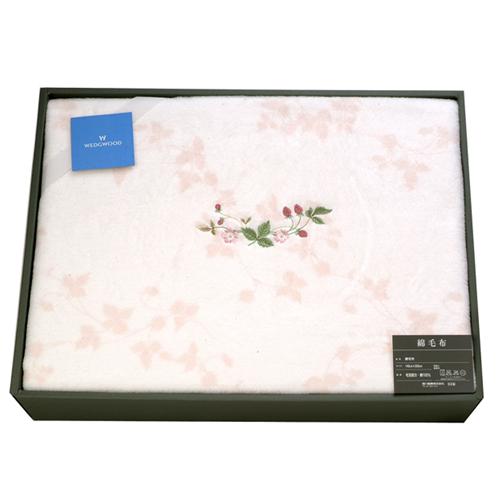 WEDGWOOD繽紛田園野莓圖騰毛毯禮盒-夢幻粉