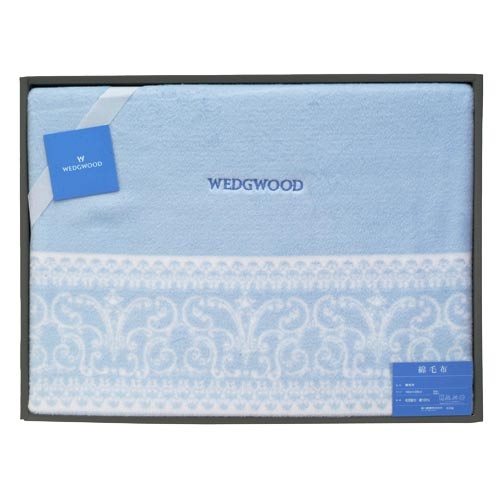 WEDGWOOD 童話湖畔水漾藍圖騰毛毯禮盒