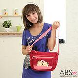ABS貝斯貓 可愛貓咪拼布側背包88-107暗紅色