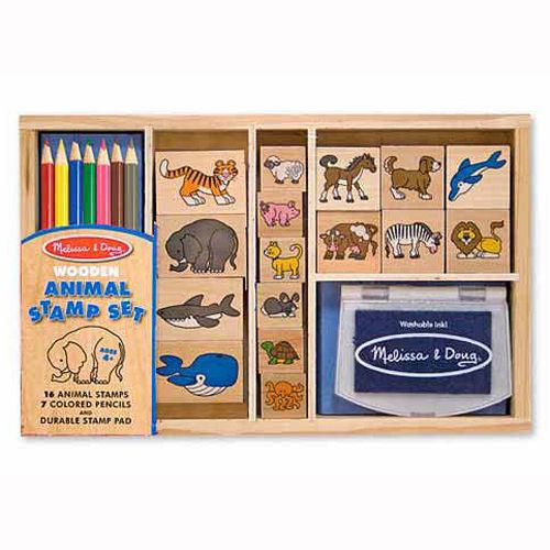 美國【Melissa & Doug】木製印章組-海陸動物園