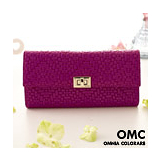 【OMC】韓國潮感氣質編織壓紋牛皮長夾-魅力桃紅色