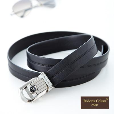 【Roberta Colum】紳士自動金屬滑扣黑牛皮皮帶