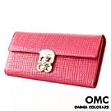 【OMC OMNIA COLORARE】韓國原廠時尚公主編織格紋牛皮長夾(共4色)